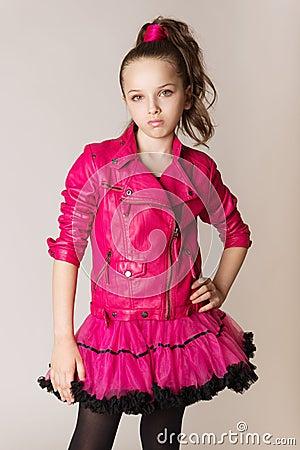 Fashion Little Girl Glam Rock Style Stock Image