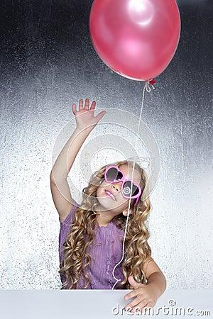 Fashion little girl red balloon heart sunglasses