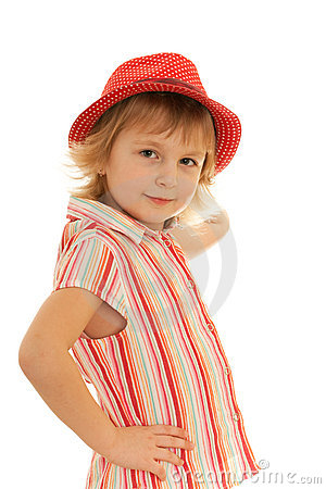 Fashion little girl in striped blouse