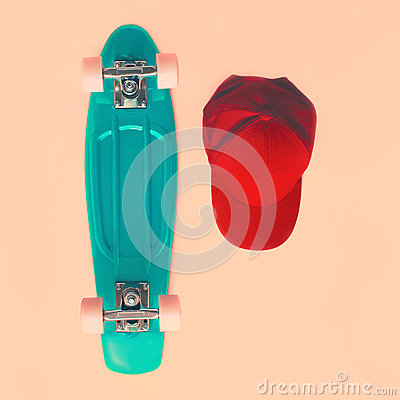Free Fashion Look Concept. Skateboard And Cap, Top View. Vintage Royalty Free Stock Photography - 55282777
