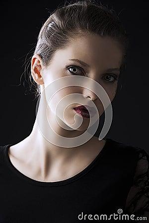 Fashion low key portrait,of actress