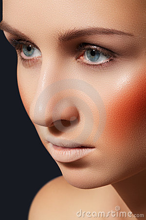 Fashion make-up, blusher, bright rouge, clean skin