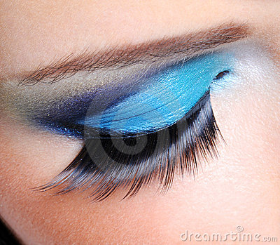 Fashion make-up with long false eyelashes