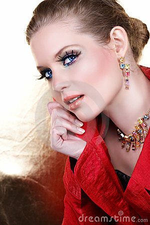 Free Fashion Make-up Woman In Red Stock Images - 5304344