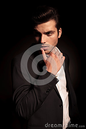 Free Fashion Man In A Provocative Pose With Finger On  Lip Stock Photography - 44049112