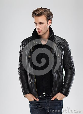 Free Fashion Man, Model Leather Jacket, Gray Background Stock Photo - 41172980