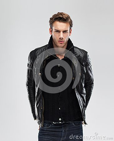 Free Fashion Man, Model Leather Jacket, Gray Background Royalty Free Stock Photo - 41172985