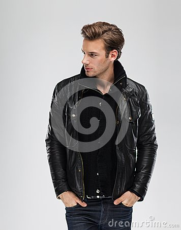 Free Fashion Man, Model Leather Jacket, Gray Background Royalty Free Stock Photos - 41172988