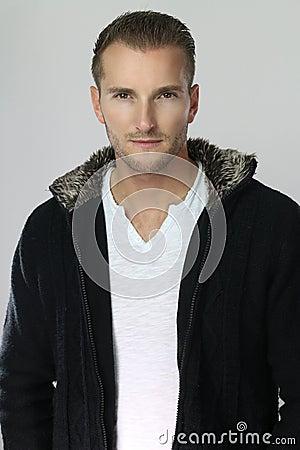 Free Fashion Man Wearing A Black Jacket Royalty Free Stock Image - 81698616