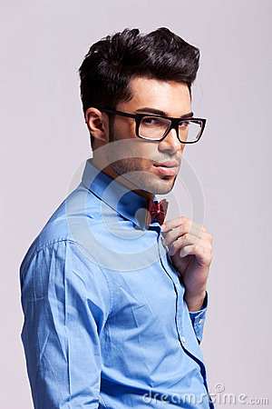 Fashion man wearing bow tie and glasses
