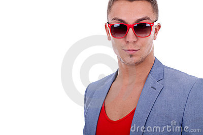 Fashion man wearing red sunglasses