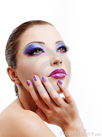 Free Fashion Maodel Face With Bright Stylish Make-up Stock Image - 12198991