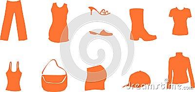 Fashion and mode symbols like shirt shoe dress bag