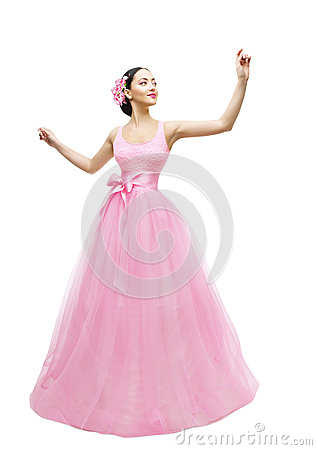 Free Fashion Model Ball Dress, Woman In Long Pink Gown, Asian Girl Stock Photos - 88359693