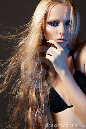 Fashion model, beautiful long shiny hair & make-up