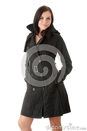 Fashion model in black coat