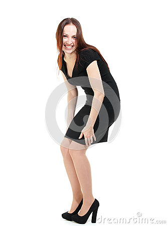 Fashion model in black dress laughing, no makeup