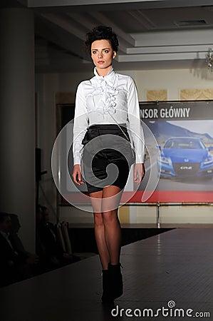 Fashion model on the catwalk Editorial Stock Photo