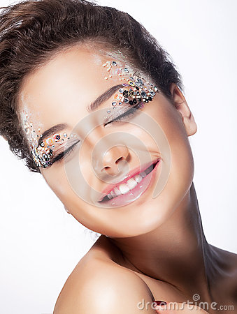 Fashion model cheerful girl - pleasure