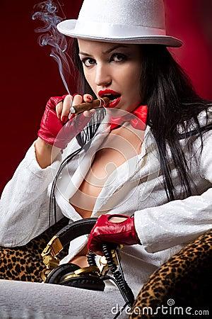 Fashion model with cigar