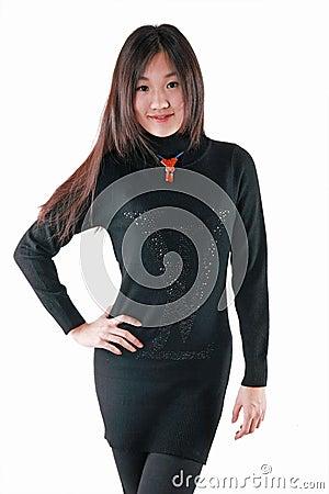 Fashion model in dark dress