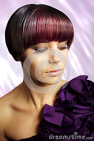 Fashion model with eyelash extensions