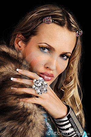 Fashion model with fur collar
