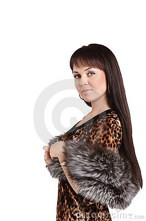 Fashion model girl in fur