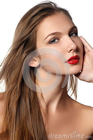 Free Fashion Model Girl Portrait With Long Blowing Hair. Glamour Beau Stock Photo - 65736360