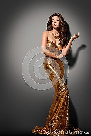 Free Fashion Model Girl Posing Glamour Gold Dress, Elegant Woman Gown Stock Photography - 76505142