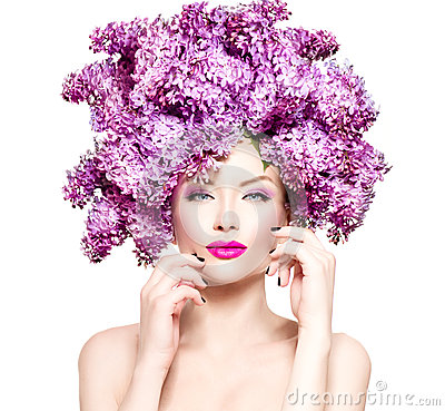 Free Fashion Model Girl With Lilac Flowers Hairstyle Stock Photo - 53887350