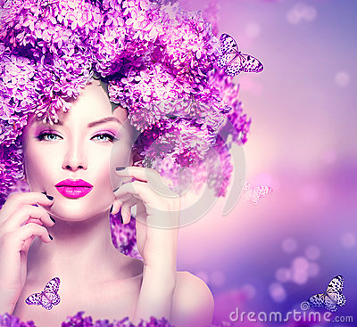 Free Fashion Model Girl With Lilac Flowers Hairstyle Royalty Free Stock Photography - 53887367