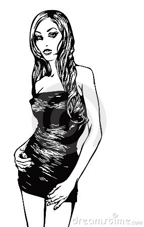 Fashion model in a graphic style