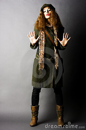 Free Fashion Model In Autumn/winter Clothes Stock Image - 11238201