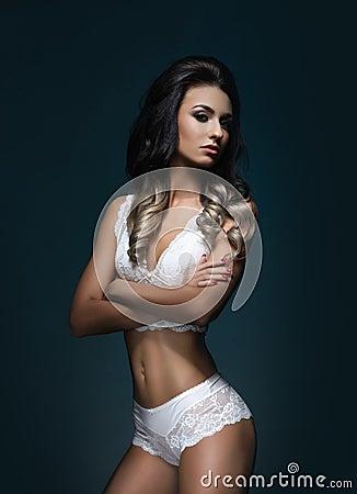Free Fashion Model In Erotic Underwear. Royalty Free Stock Image - 95400106