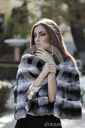 Free Fashion Model In Fur Coat Royalty Free Stock Image - 27810196