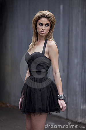Fashion Model in Little Black Dress