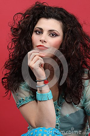 Fashion Model with long curly hair
