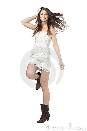 Fashion model with long curly hair.