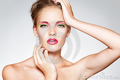 Fashion model with pink make-up & juicy lips