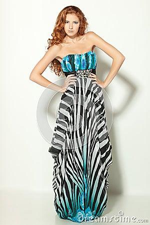 Free Fashion Model Posing In Chiffon Dress Stock Images - 22806604