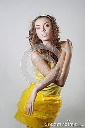 Fashion model posing in studio