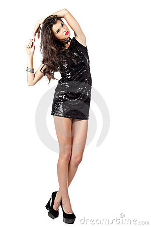 Fashion model in sequin dress