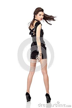 Fashion model in sequin dress