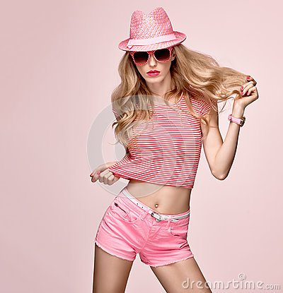Free Fashion Model Sexy Girl.Crazy Cheeky Emotion. Pink Stock Photography - 85335162