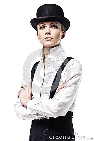 Fashion model in a stylish dress