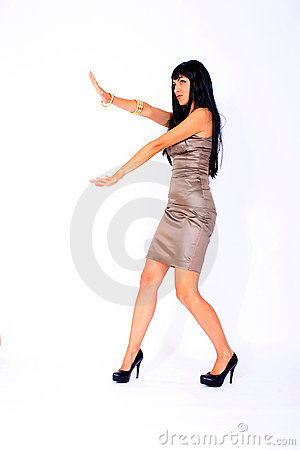 Fashion model wearing satin dress