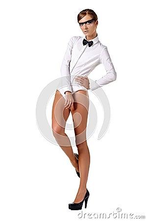 Fashion model in white combi dress