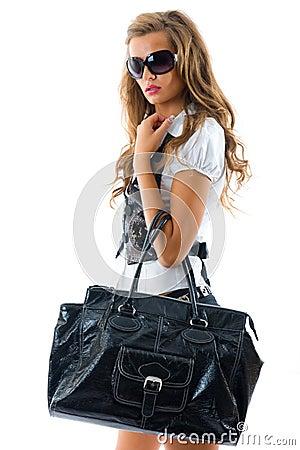 Free Fashion Model With Big Bag. Stock Photography - 7052142