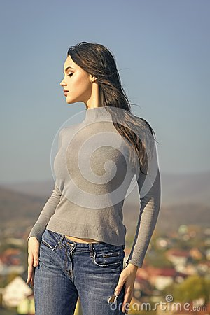 Free Fashion Model With Fit Body Pose In Sweater Jeans Stock Images - 116680264